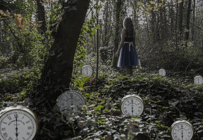 不思議の森の少女と時計